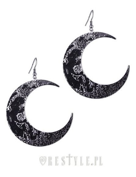 """MOON TEXTURED EARRINGS"" Gothic Earrings, Crescent, occult fashion"