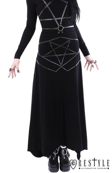 """PENTAGRAM MAXI SKIRT"" Long gothic skirt"