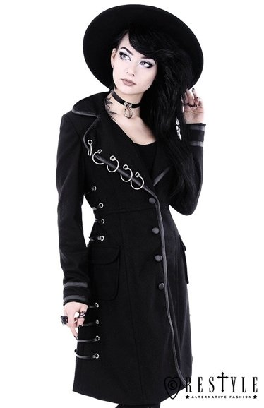 """PIERCED COAT"" Black Autumn jacket with rings"