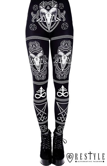 """SATANIC LEGGINGS"" Black gothic leggings with Ram skull and pentagram"