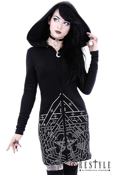 """SIGILLUM DEI HOODIE"" Long, gothic jacket with oversized hood and print"