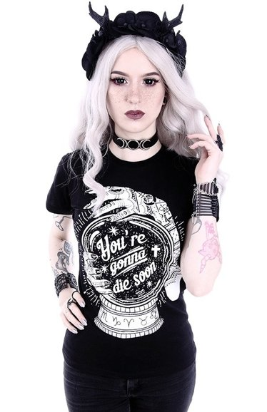 "T-shirt ""You're gonna die soon"" Gothic blouse with a magic ball"