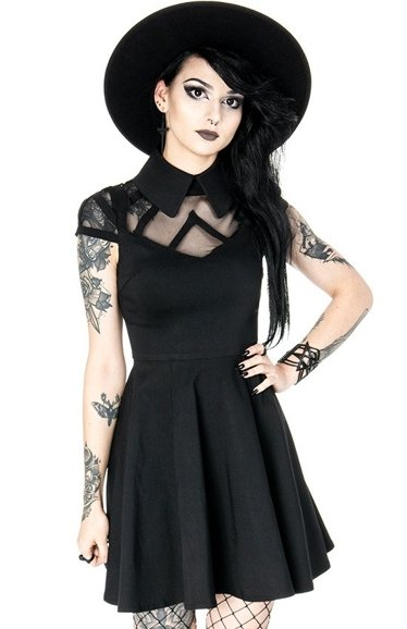 WEDNESDAY DRESS Black gothic collar dress, net and harness
