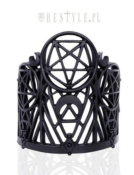 """WICKED BRACELET"" Modern bangle, Pentagram & Crescent, black gothic cuff"