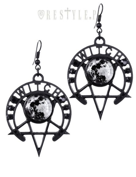 """WITCH MOON EARRINGS"" Gothic moon earrinngs, Pentagram jewellery"