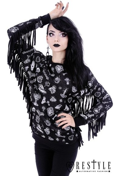 """WITCHY JUMPER"" Magic print hoodie with fringe, nugoth blouse"