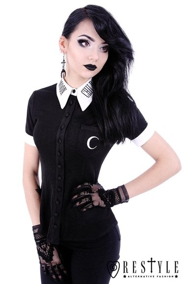 "White collar with embroidery, gothic blouse ""MOON CHILD SHIRT"""