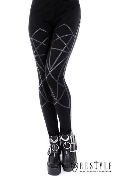 "black ""PENTAGRAM LEGGINGS"" with harness, occult trousers"