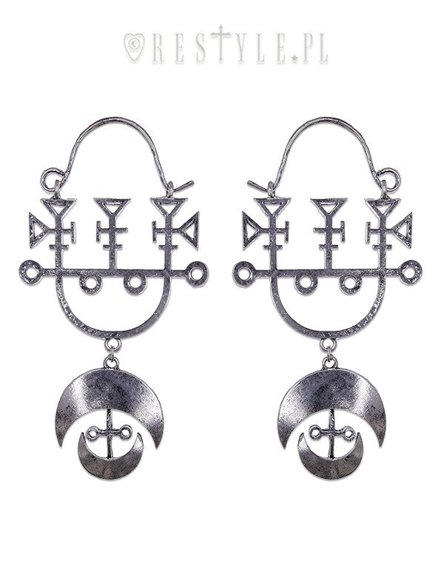 "occult earrings jewellery, Death and Luxury ""DEMON SIGIL SILVER earrings"""