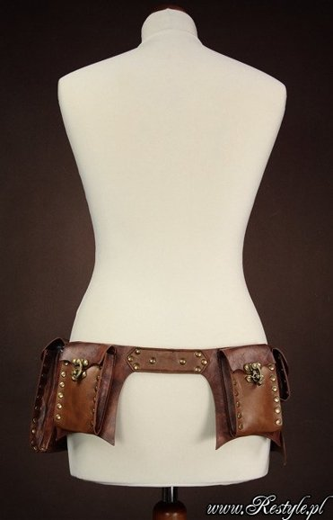 "steampunk brown belt unisex ""POCKET BELT"""