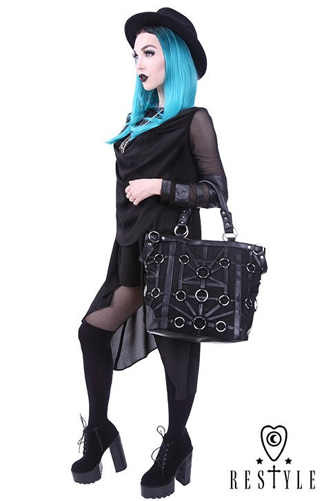 "Black, harness handbag, occult, black fashion ""O-RING TOTE BAG"""