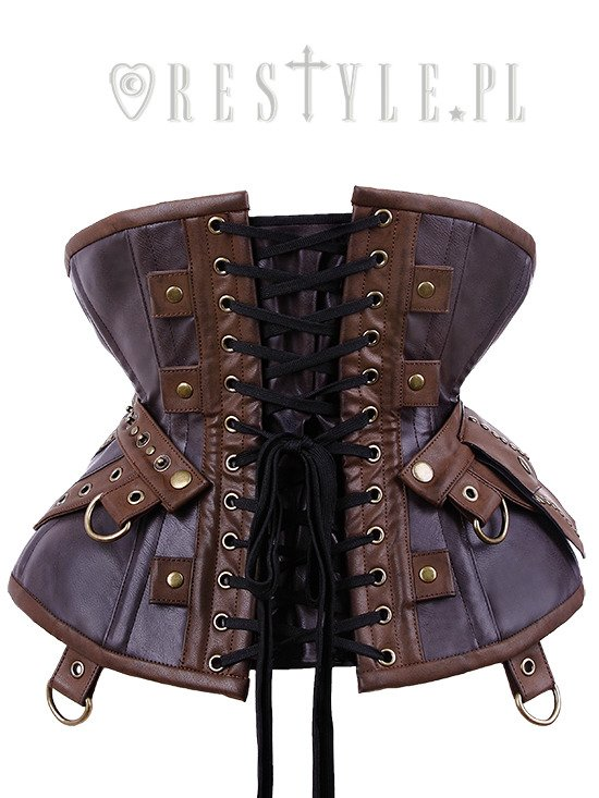 """CU1 Utility Underbust"" steampunk corset with pockets, swing hooks, hourglass"