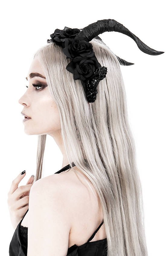 DARK ELF ROSE CROWN Gothic Headpiece with horns