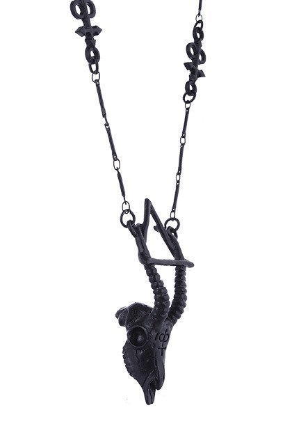 """GAZELLE SKULL BLACK necklace"" arsenic, nature, occult jewellery"