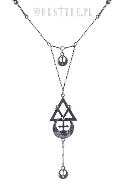 Gothic Long Chain Alchemical Symbols Geometry Silver Necklace