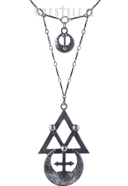 "Gothic long chain, alchemical symbols ""GEOMETRY SILVER necklace"""