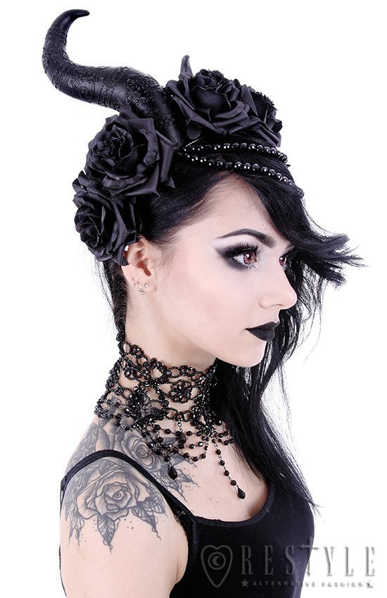 Gothic Headpiece, Black headband, satan horns EVIL QUEEN