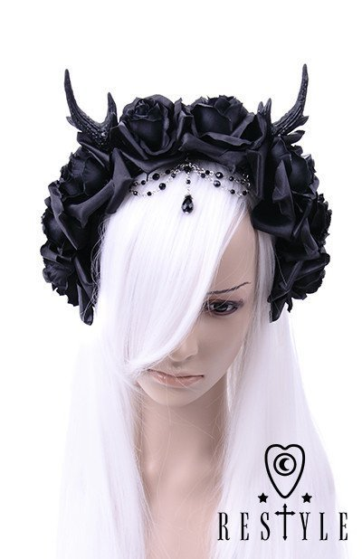 Gothic Wreath, romatic headdwear Antlers, Roses & Beads headband,