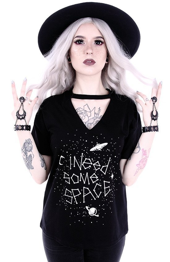 "Gothic blouse with star constellation V-neck with choker ""I NEED SOME SPACE"""