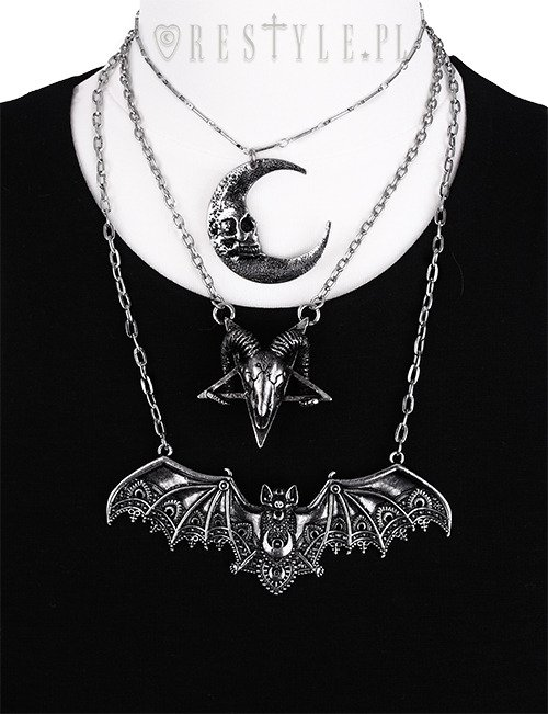 """RAM SKULL SILVER necklace"" arsenic, pentagram, occult jewellery, satanic pendant"