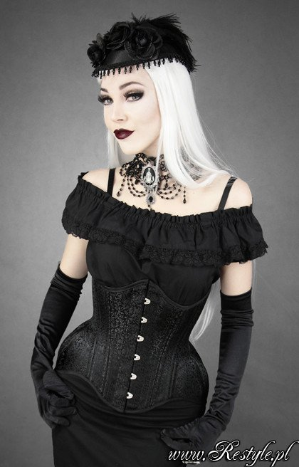 """WH BROCADE UNDERBUST"" Black jacuard hourglass corset gothic"