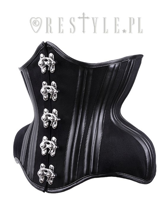 """WH10 Black Warrior Underbust"" black dramatic curved corset, extreme underbust"