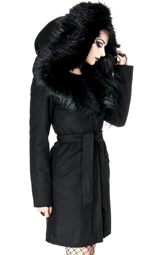 ARCANUM COAT Black gothic winter coat with oversized fur hood