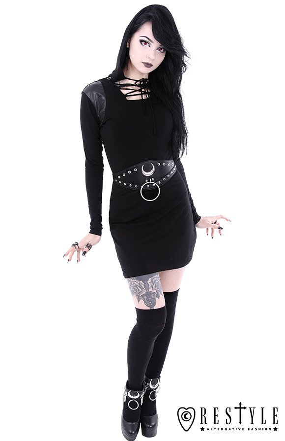 """ARMOR DRESS"" Black gothic dress with lacing and hood"