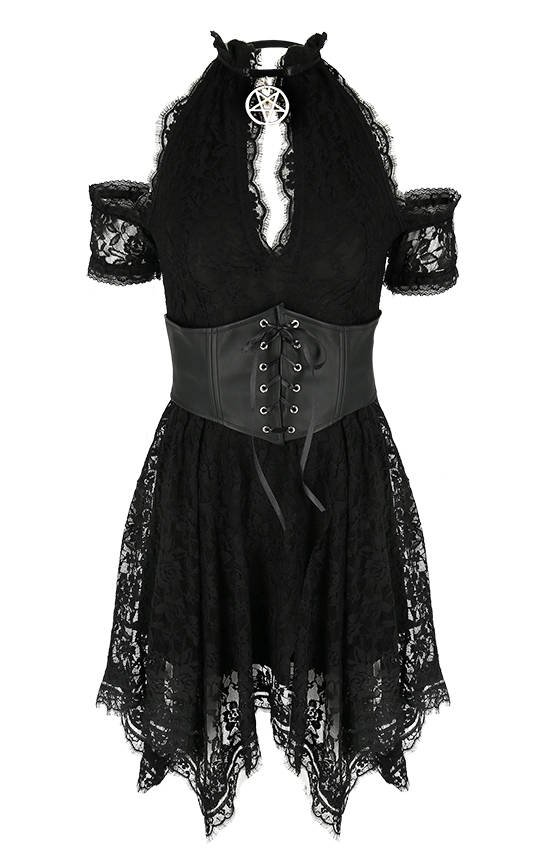 Asymmetric Lace Corset Dress with a pentagram charm