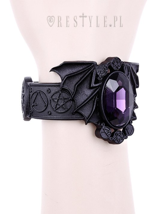 """BAT BLACK BRACELET"" bangle, Necromicon, Pentagram jewellery, gothic cuff"