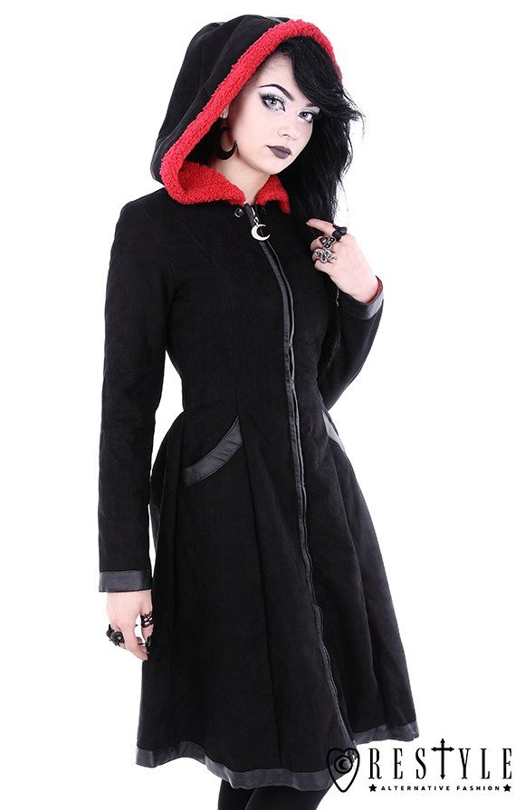 "Gothic winter coat, oversized hood, detachable bat wings cape ""BAT COAT"""