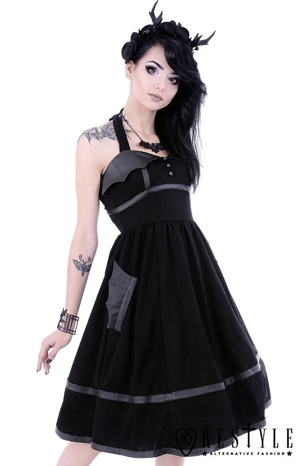 Black gothic dress with bat wings, 50' style, retro skirt ...