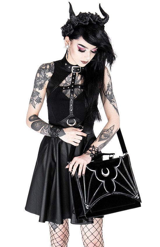 BIG BAT BAG Gothic handbag with bat wings and crescent moon