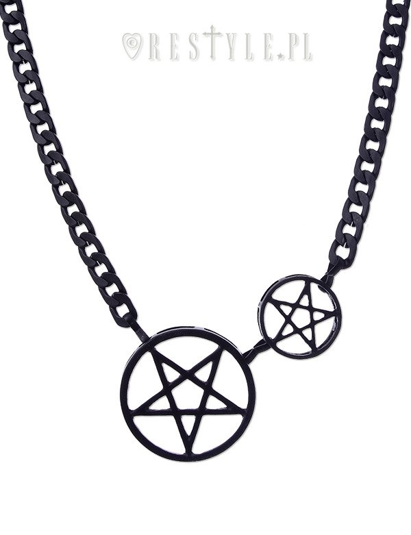 "Thick Pentagram necklace ""BLACK DOUBLE PENTACLE CHAIN"""