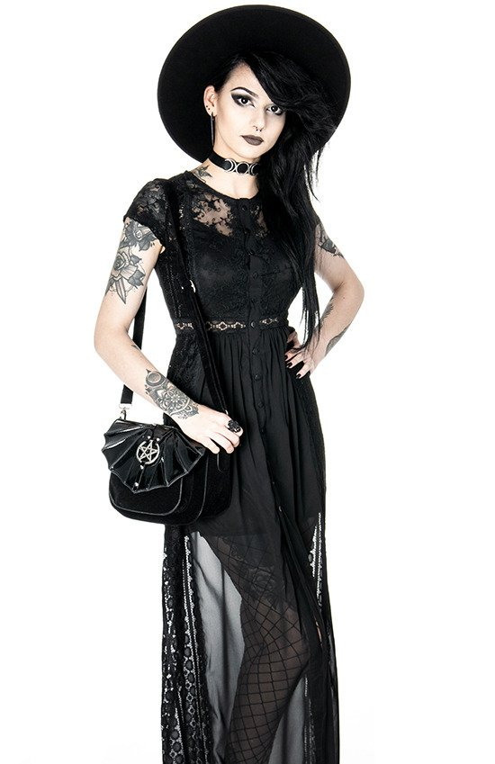 BLACK GRACE DRESS Long Lace gown. Romantic Dress