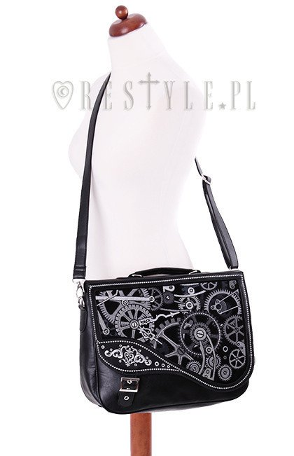 """BLACK MECHANISM"" Steampunk satchel bag irregular briefcase"