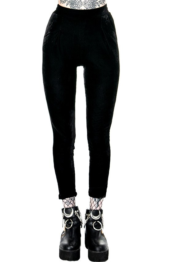 BLACK VELVET PANTS with high waist