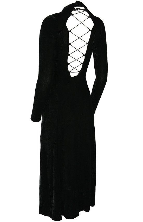 BLACK WIDOW DRESS Long gothic gown with guipure