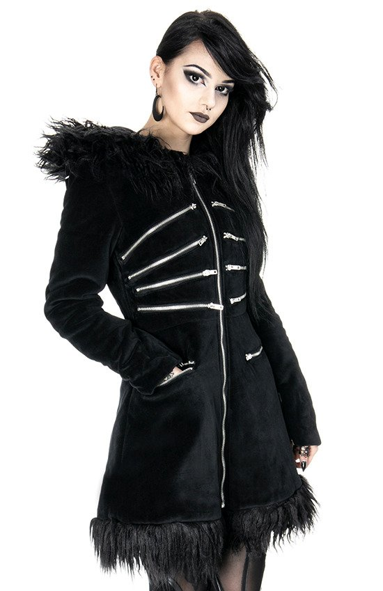 Blak Pixie Coat Velvet Winter Jacket With Zippers And Fur Clothes