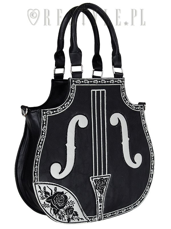 "BLackhandbag, gothic lolita bag, embroidered ""VIOLIN BLACK"""