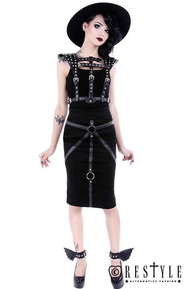 """BONDAGE SKIRT"" Black pencil skirt with hight waist, harness skirt"
