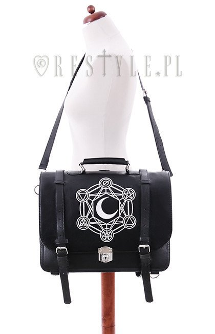 "Bag & Bacpack, black satchel, alchemical symbols ""MOON MESSENGER"""