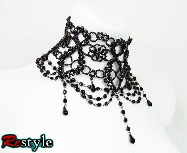 "Big Black victorian beaded choker  ""BURLESQUE"""