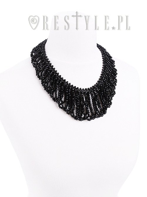"Big evening collar, black beaded choker, gothic necklace ""FRANCES CHOKER"""