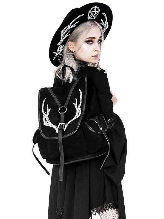 Black Antlers Backpack pagan witch bag with pockets