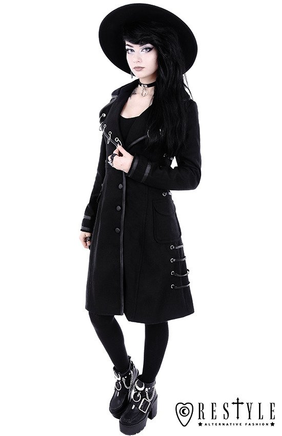 "Black Autumn jacket with rings ""PIERCED COAT"""
