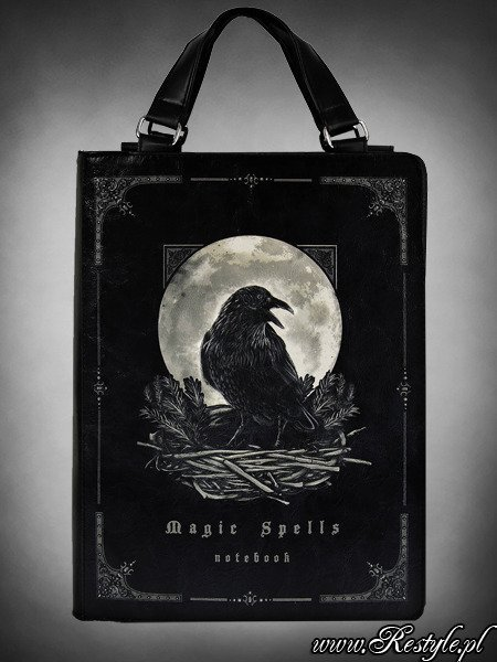 black book bag gothic handbag raven moon quotmagic spells