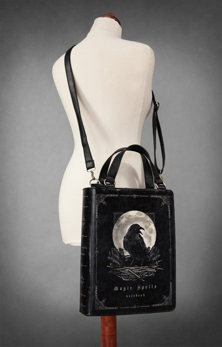 "Black BOOK bag gothic handbag, raven moon ""Magic Spells"""