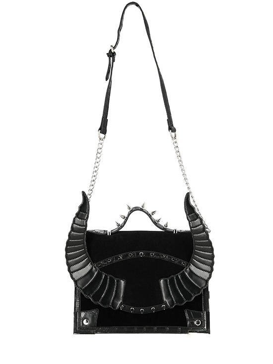 Black Diabolic Purse, Gothic Bag with spikes and Horns