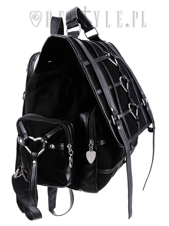 "Black Gothic Bag, Harness Heart, square backpack ""HEAVY HEART BACKPACK"""